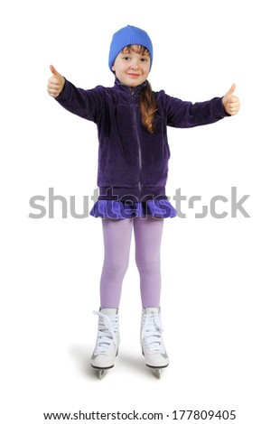 Little girl with skates isolated on white - stock photo