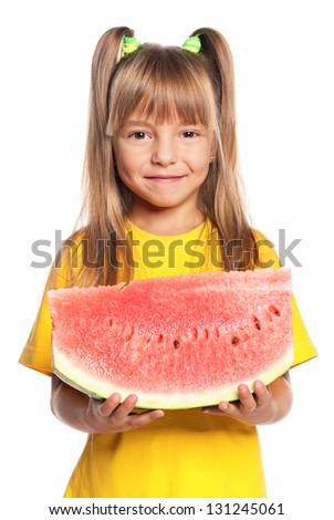 Little girl with slice of watermelon isolated on white background - stock photo