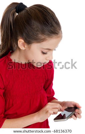 little girl with smart-phone - stock photo