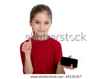 little girl with smartphone - stock photo