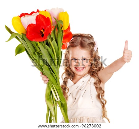 Little girl with spring flower . Isolated. - stock photo