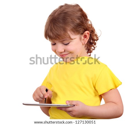 little girl with tablet pc on white - stock photo