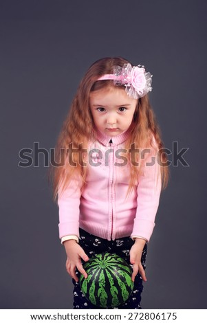 Little girl with the ball - stock photo