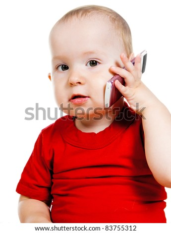 little girl with the phone on a white background - stock photo