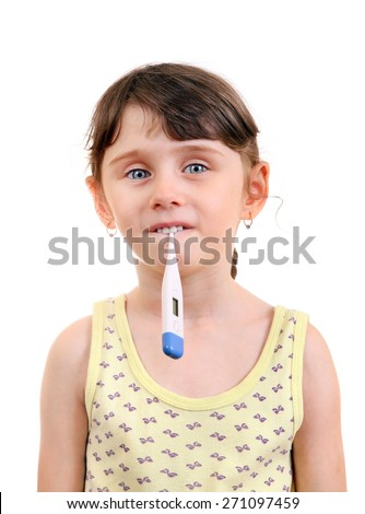 Little Girl with Thermometer Isolated on the White Background - stock photo