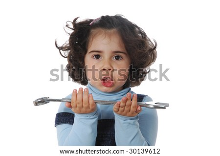Little girl with tools playing