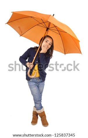 little girl with umbrella - stock photo