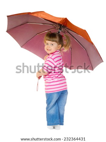 Little girl with umbrella isolated - stock photo