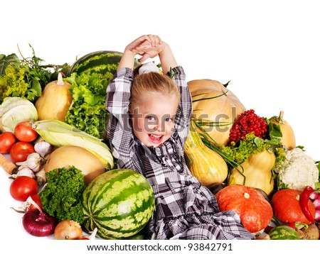 Little girl with vegetable . Healthy eating. - stock photo