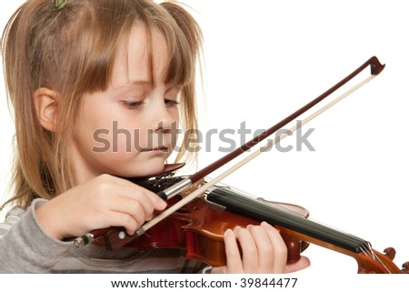 Little girl with 1/16 violin.