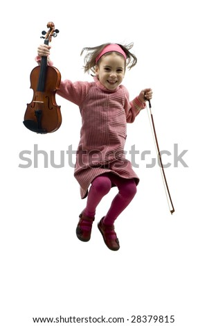 little girl with violin jumping isolated on white - stock photo