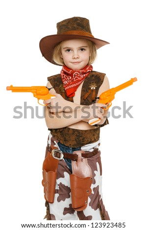 Little girl with wearing cowboy costume holding guns, over white background - stock photo