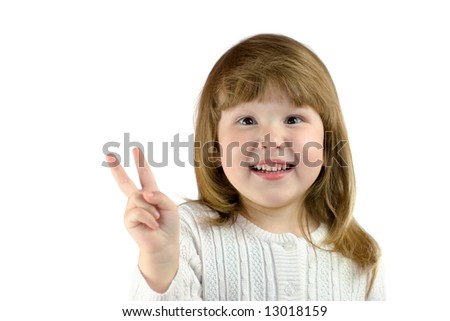 Little girl with Wild eyes showing victory sign isolated on white - stock photo