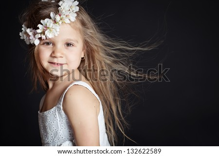 Little girl wreath - stock photo