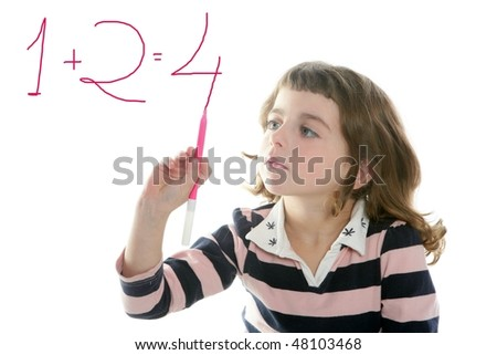 little girl writing add numbers marker transparent white board - stock photo