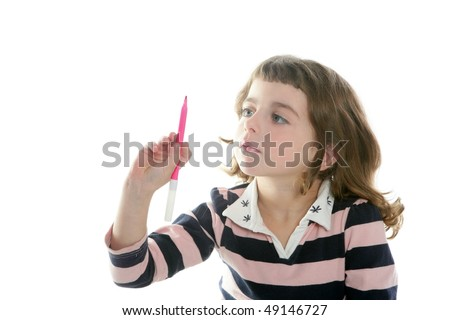 little girl writing marker copy space copyspace message on white - stock photo