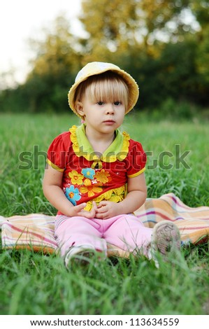 Little girl 2.5 years in nature - stock photo