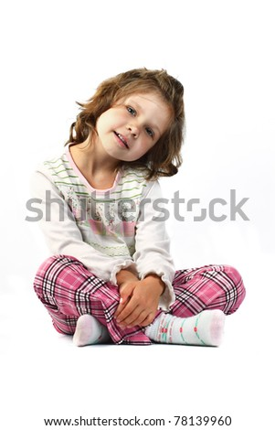 little girl 5 years isolated on a white background - stock photo
