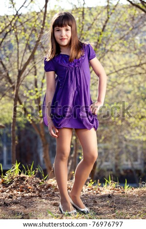 Little girl 10-13 years old - stock photo