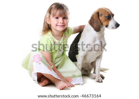 Little girl 4 years old and the dog - stock photo