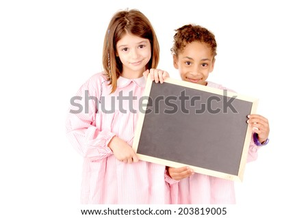 little girls at school isolated in white - stock photo