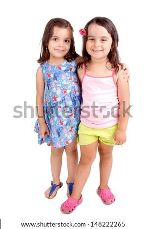 little girls isolated in white