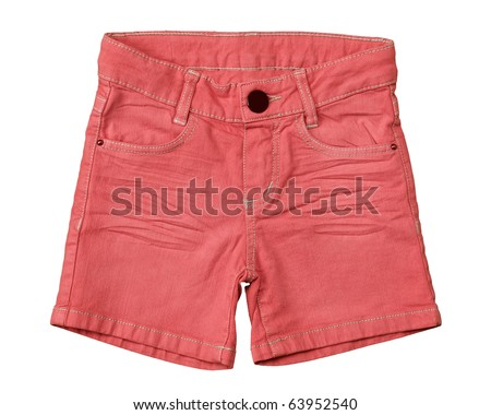 little girls jean shorts on white background, orange pink color - stock photo