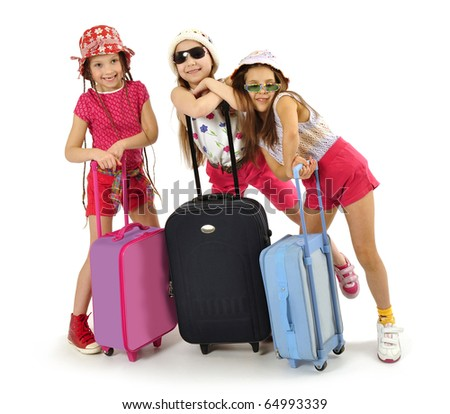 Little girls off on a trip - stock photo