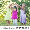 Little Girls Playing In The Park - stock photo