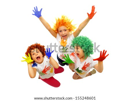 Little girls playing with colors - stock photo