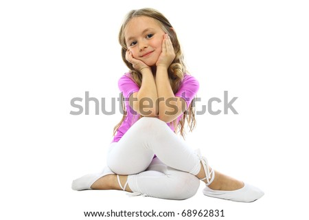 little girls posing after training isolated on white - stock photo