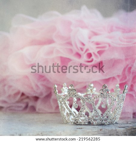 Little girls shiny crown - stock photo
