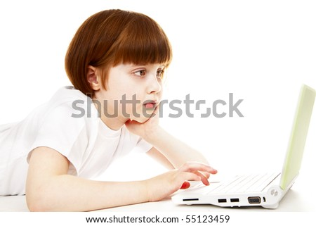 little girls with a laptop over white