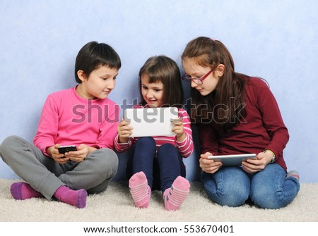 little girls with tablet