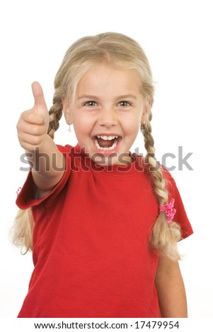 little giving thumbs up sign on white background - stock photo
