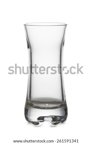 little glass for liqueur empty, on white background - stock photo