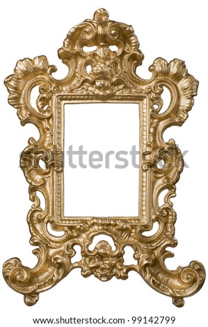 Little gold-plated picture frame (with clipping path) - stock photo