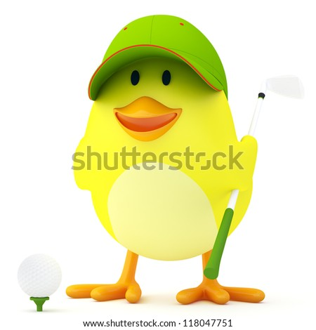 Little golf player chick on white - 3D render - stock photo
