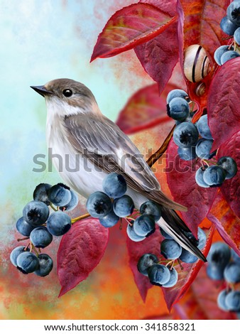 little gray bird, red autumn leaves, twigs of blueberry, small snails, autumn landscape - stock photo