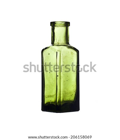 Little green bottle isolated on a white background