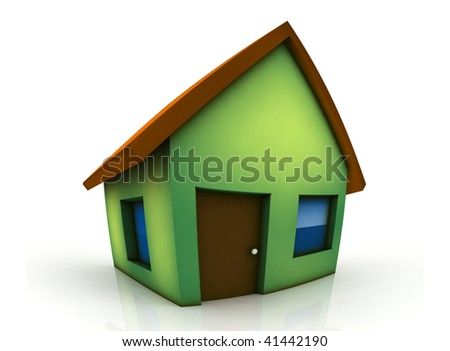 little green house - 3d render isolated illustration - stock photo