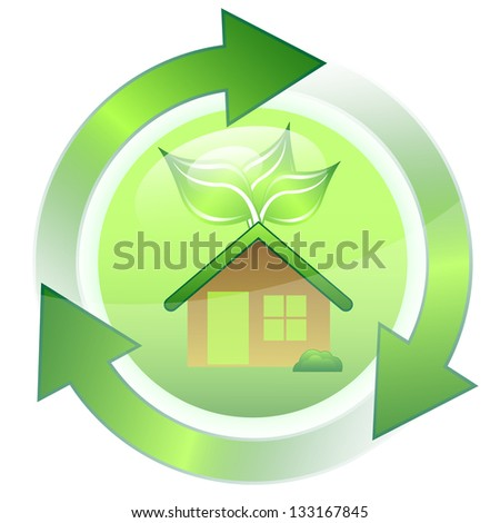 Little green house with leaves vector - stock photo