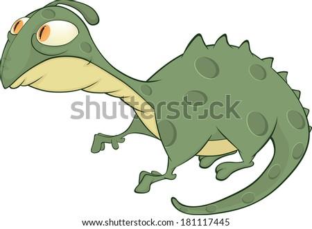 Little green lizard cartoon  - stock photo
