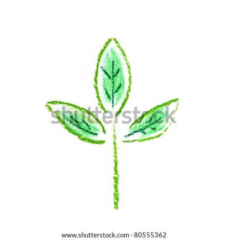 little green plant illustration isolated over white - stock photo