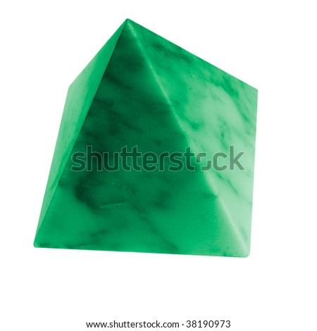 little green pyramid of marble, smooth stone - stock photo