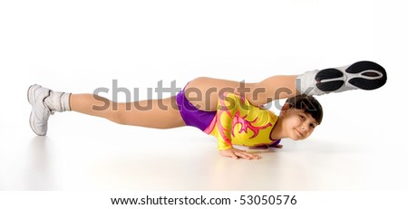 little gymnast on a white background. - stock photo
