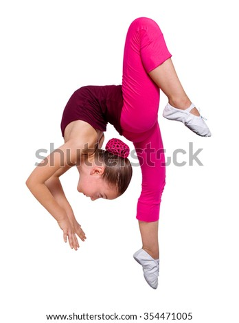 Little gymnast on a white background.Dynamic exercise.Isolated image. - stock photo