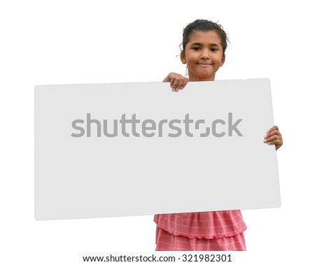 Little gypsy girl holding gray poster standing isolated on white background