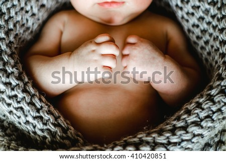 little hand of sleeping baby newborn close up. little hand of sleeping baby newborn close up - stock photo