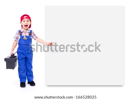 Little handyman with toolbox, shouting and pointing at big, empty advertising panel - stock photo